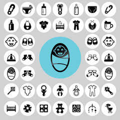 Baby icons set. Illustration eps10