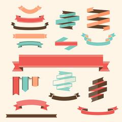 Ribbon Banner Set Vector design elements