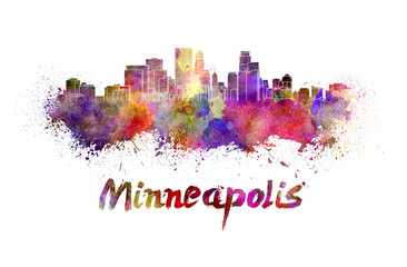 Wall Mural - Minneapolis skyline in watercolor