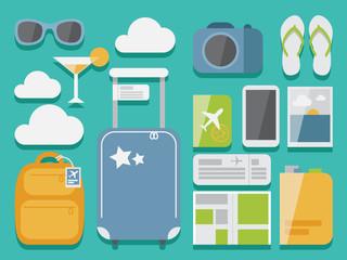 Flat style travel set