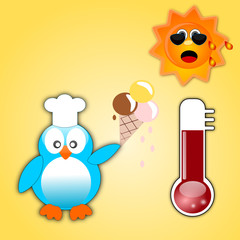 Pinguino che mangia il gelato al sole