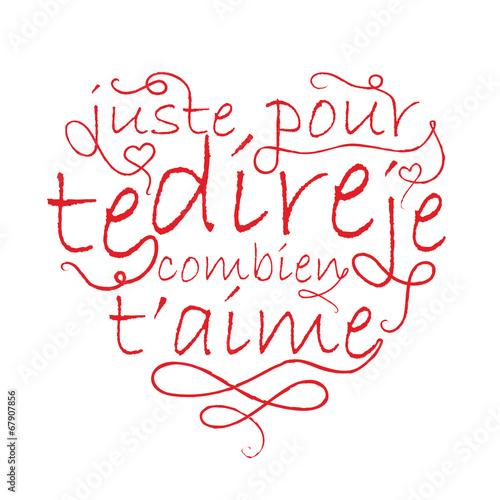 Je Taime Coeur Déclaration Amoureux Saint Valentin Carte