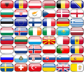 All European Flags - rectangle glossy buttons, isolated