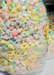 Old-fashioned candy in glass jar