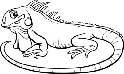 iguana cartoon coloring book