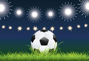 Soccer Ball and Night Stadium