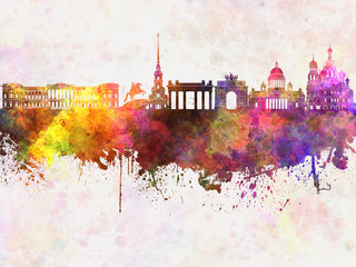 Wall Mural - Saint Petersburg skyline in watercolor background