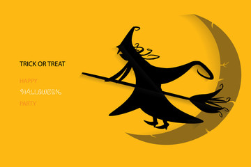 Abstract Halloween background with silhouette witch against moon