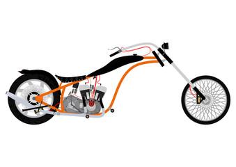 Illustration of cartoon chopper on white background. Vector