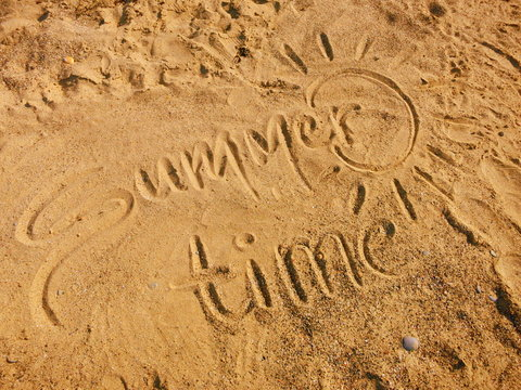 Summer Time written in the Sand (beach holidays vacation)