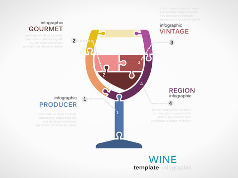 Wine concept infographic template with glass