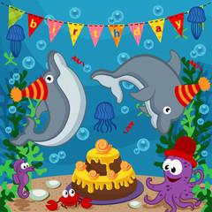 birthday marine animals - vector  illustration, eps