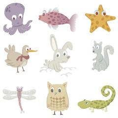 Nine funny animals