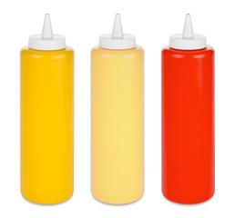ketchup mustard and mayo bottles