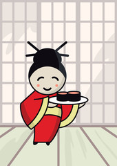 illustration of a Japanese girl with sushi