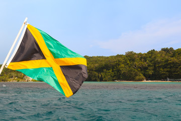 Jamaica flag waving sea beach sky