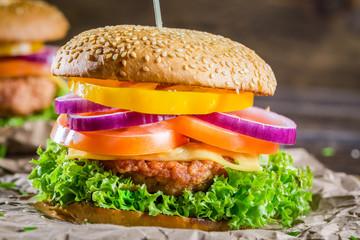 Fototapeta Tasty homemade two hamburgers obraz