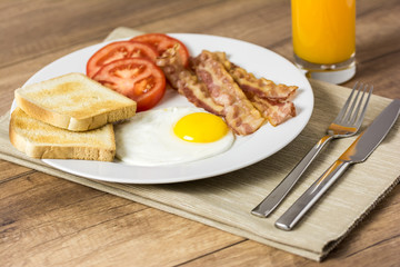 Tasty English Breakfast And Orange Juice
