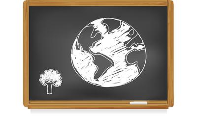 Tableau d'école : planète terre