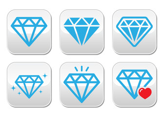 Diamond luxury vector buttons set