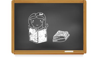 Tableau d'école : écolière