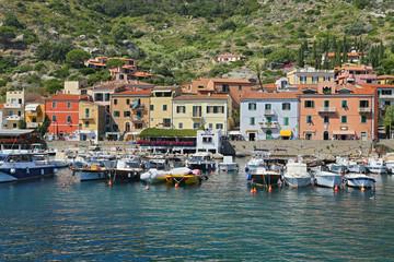 Boats in the small harbor of Giglio Island