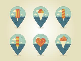 pin map icons ice cream
