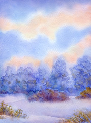 Watercolor background with quiet sunset over winter forest