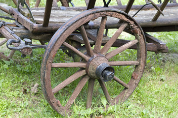 Old vintage wooden wheel closeup