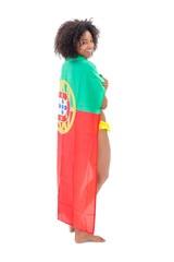 Smiling girl in bikini holding portugal flag