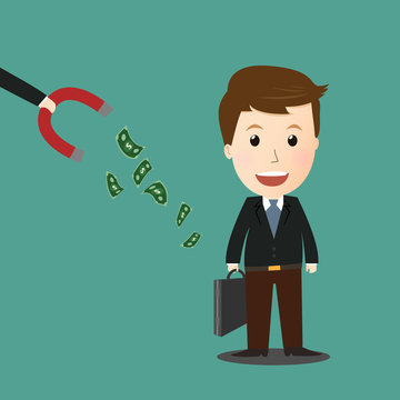 Vector of magnet steal money from businessman .concept