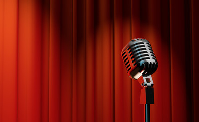 3d retro microphone on red curtain background