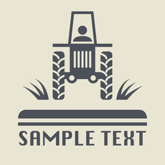 Tractor icon or sign