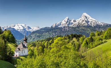 Maria Gern with Watzmann mountain, Berchtesgadener Land, Bavaria