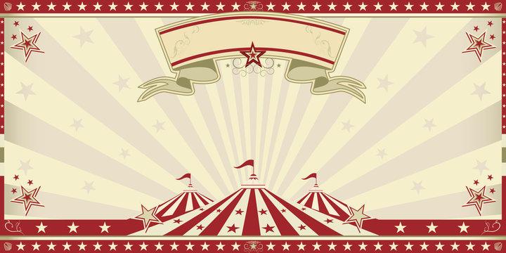 circus red invitation