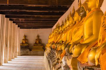 Row buddha image , Ayutthaya in Thailand