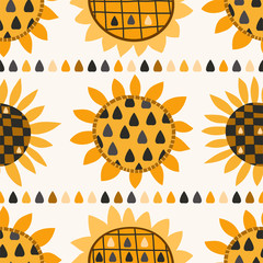 Seamless pattern with sunflower and seeds