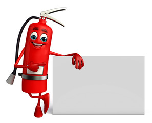 Fire Extinguisher character with sign