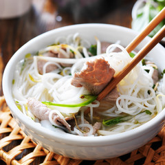 hot bowl of pho close up