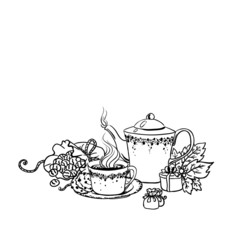 Set of tea cup in vintage style stylized