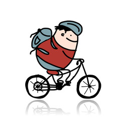 Tourist rides a bike, cartoon for your design