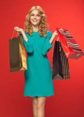 Portrait of the pretty woman with the shoping bags