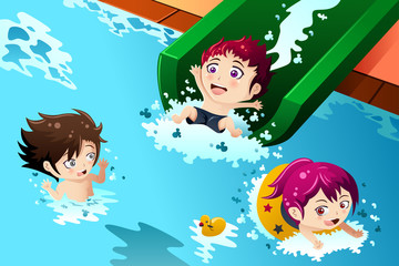 Kids having fun in the swimming pool