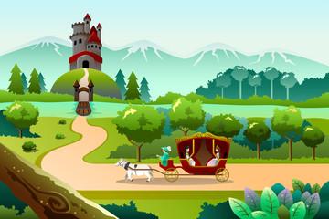Prince and princess riding a wagon