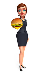 Young office girl with burger