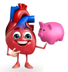 Heart character with piggy bank