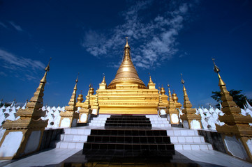 Golden Pagoda in Sanda Muni Paya in Myanmar.
