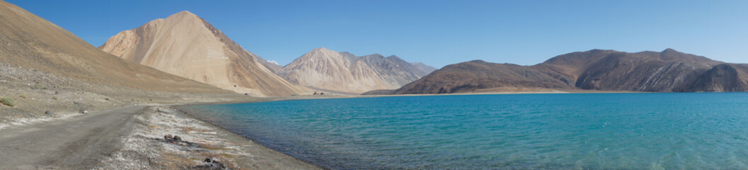Pangong Lake in Ladakh, Jammu and Kashmir State, India.