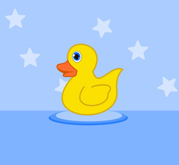 duckling in a bath toy