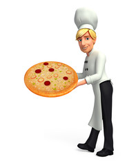 Young chef with pizza
